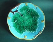 Rare Marked Joseph Holdcroft Turquoise Majolica 'Grape Leaf & Vine' Plate c1870 #3